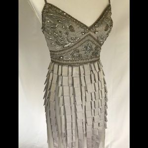 Sue Wong silver cocktail dress